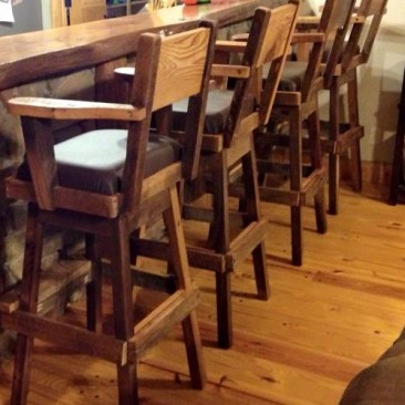 Bar Stool, Leather Cushions, Stationary or Swivel Stools, Counter Bar Chairs, Restaurant Furniture, Custom Made Chairs, Skaggs Creek Wood
