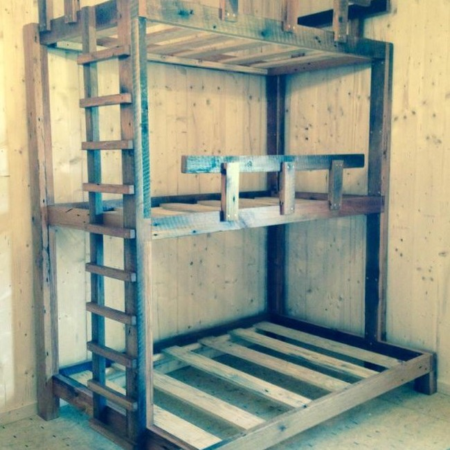 Triple Bunk Beds, Two Twin, One Full, Bunkbeds, Rustic Cabin Loft Bunk Bed, Kids & Adults Beds, Reclaimed Barn Wood, Skaggs Creek Wood Shop