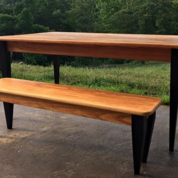 Dining Table, Kitchen Table with Bench, Pine Wood, Modern Dining Room Table, Reclaimed Lumber Table, Furniture, Skaggs Creek Wood Shop