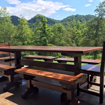Kitchen Table with Four Benches, Dining Room Table, Farmhouse Kitchen Table, Large 8-Foot Table, Kitchen Furniture, Skaggs Creek Wood Shop