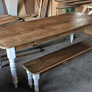 Farmhouse Harvest Kitchen Table with Matching Bench, Wood Table, Kitchen Bench, Custom Home Furniture, Dining Room Table, 7-Feet Long Table
