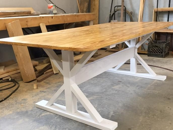 Kitchen Farmhouse Table, Dining Table, Rustic Wood Tables, White Legs,  Custom Home