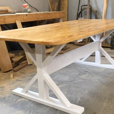 Kitchen Farmhouse Table, Dining Table, Rustic Wood Tables, White Legs, Custom Home Furniture, Dining Room Tables, 7-Feet Table, Ruff Lumber, Skaggs Creek Wood Shop