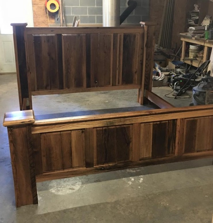 Barn Wood King Bed Frame, Farmhouse Bedroom Furniture, Reclaimed Wood, Rustic Cabin Wood Bedframe, Custom Headboard, Skaggs Creek Wood Shop