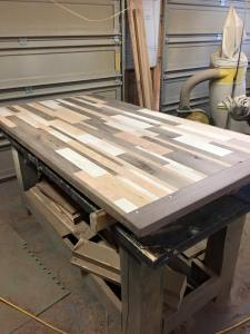 Reclaimed Wood Butcher Block, Counter Top, Farmhouse Kitchen Table, Dining Room Table, Cabin Kitchen Table, Furniture, Skaggs Creek Wood Shop,