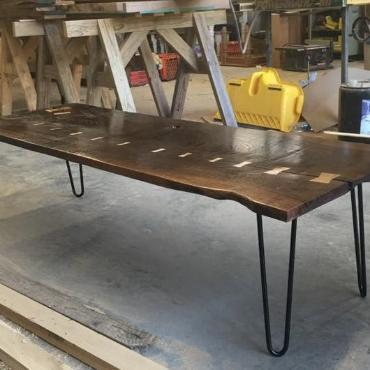 Home & Living, Furniture, Living Room Furniture, Coffee & End Tables, Coffee Table, Sofa Table, Industrial Table Rustic Coffee Table, Modern Coffee Table, Rectangle Table, Bow Tie Table, Live Edge Table, Hair Pin Legs, Metal Inlay Table Slab Wood Table, Walnut Coffee Table, Maple Inlay Table