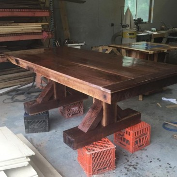 Farmhouse Rustic Kitchen Table, Kitchen Table, Farmhouse Table, Over-Sized Table, Bench and Chairs, Dark Wood Table, Custom Home Furniture, Dining Room Table, Long Table