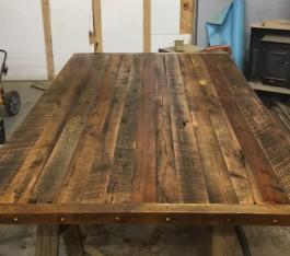 Rustic Reclaimed Wood Table Top, Kitchen Island with Stove, Kitchen Cabinet, Rustic Reclaimed Wood, Barnwood Kitchen Islands, Prep Table, Storage, Skaggs Creek Wood Shop