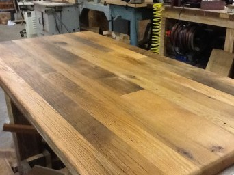 The kitchen island top was built using 2-inch thick white and red oak.