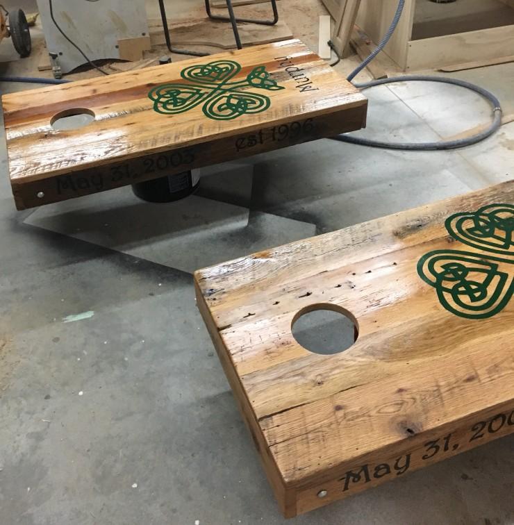 Custom Corn Hole Game, Outdoor Corn-hole Set, Logo Corn Hole Board, Branded Wood Furniture, Personalized Cornhole, Skaggs Creek Wood Shop