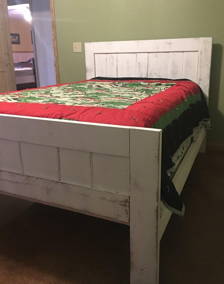 Full Bed Frame, Headboard, Farmhouse Wood Bed, Rustic Bedroom Furniture, Vintage Chalk-Paint, Rough Sawn Lumber, Skaggs Creek Wood Shop
