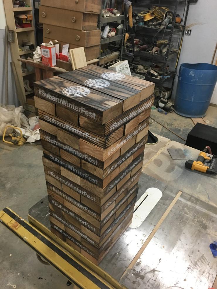 Giant Jenga Wooden Blocks, Game Box & Table, Custom-Made Logo Colors, Large Jenga Game, Personalized Wood Gift, Skaggs Creek Wood Shop