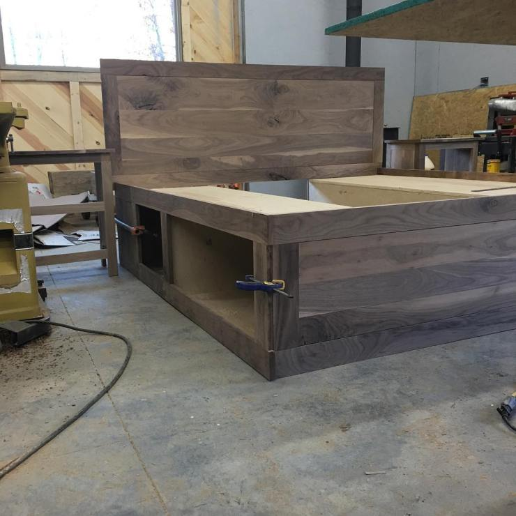 Walnut Queen Bed Frame, Farmhouse Bedroom Furniture, Reclaimed Wood, Rustic Cabin Wood Bedframe, Custom Headboard, Skaggs Creek Wood Shop