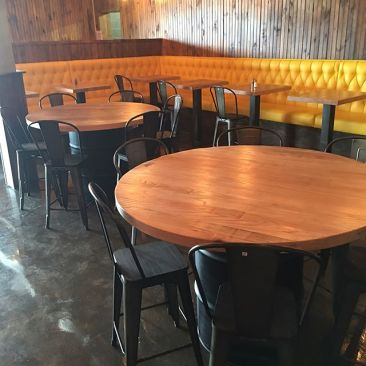 Pub Bar Tables, Circle Restaurant Tables, Dining Tables, Table Tops, Branded Table, Conference Table, Custom Finish, Skaggs Creek Wood Shop