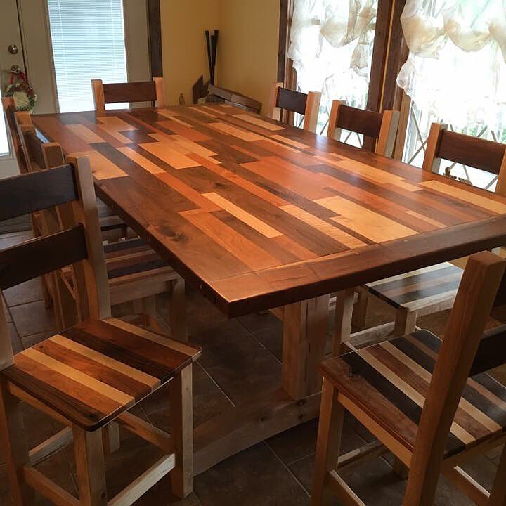 Kitchen Table, Farmhouse Table, Rustic Large Table, Rectangle Dark Wood Table, Custom Home Furniture, Dining Room, Skaggs Creek Wood Shop
