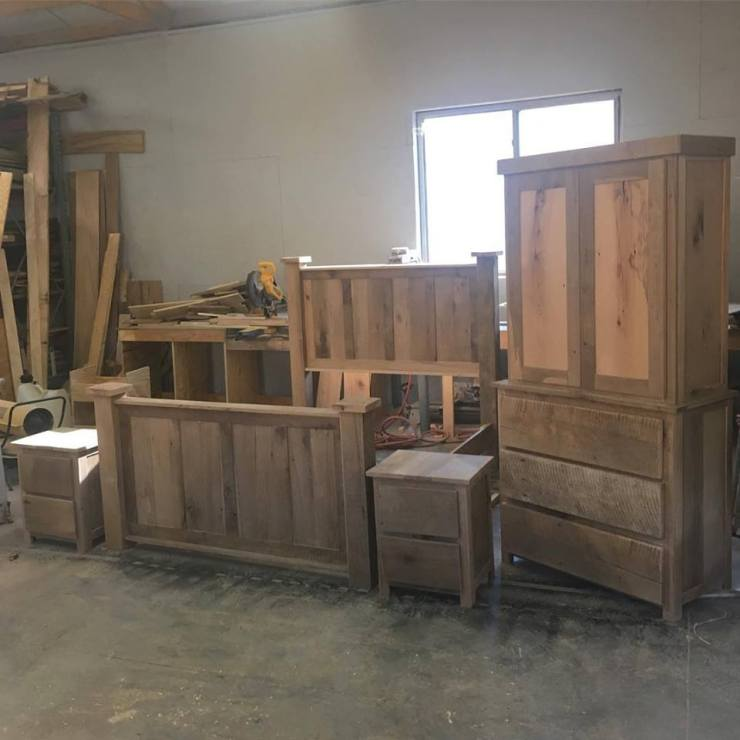 Call it what yah want... barnwood, reclaimed, grey wood, barn boards, recycled. It looks awesome when done! #bedroomsuite #handmade #reclaimedwood #bedroom Skaggs Creek Wood Shop
