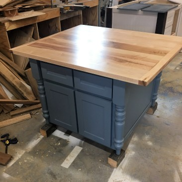 Kitchen Island with Maple Top, Kitchen Islands with Seating-Bar Stools, Custom Kitchen Cabinets, Microwave Opening, Skaggs Creek Wood Shop