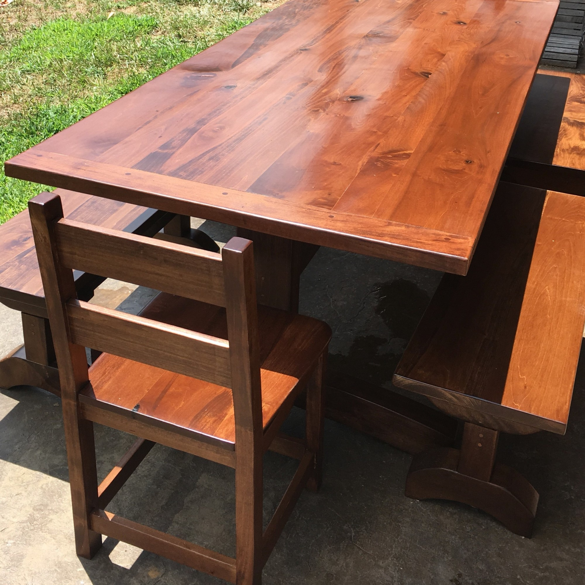 Kitchen Table with Four Benches, Farmhouse Table, Dining Room Table, Large Harvest (8-Foot) Table, Kitchen Furniture, Skaggs Creek Wood Shop