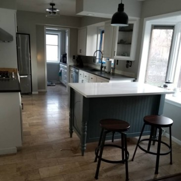 Kitchen Island, Kitchen Islands with Seating-Bar Stools, Custom Kitchen Cabinets, Microwave Opening, Skaggs Creek Wood Shop