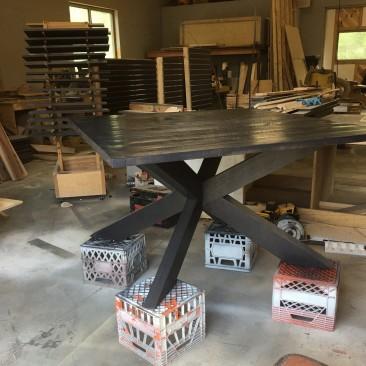 Modern Dining Table, Traditional Kitchen Table, Cross-Leg Base, Open-Framed Pedestal, X Shape Pedestal, Four Angular Legs, Skaggs Creek Wood Shop