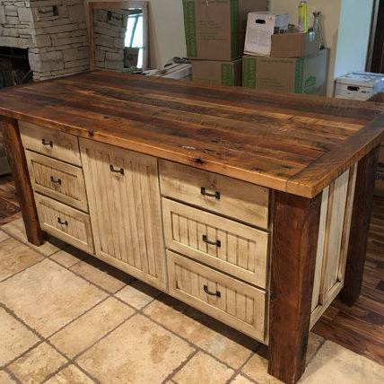Kitchen Island with Storage, Kitchen Islands with Seating, Custom Kitchen Cabinets, Rustic, Shabby Chic, Farmhouse, Skaggs Creek Wood Shop