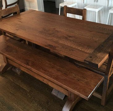 Kitchen Table w/ Bench & Chairs, Dining Room Table, Large Harvest Table, Farmhouse Table, Rustic Kitchen Furniture, Skaggs Creek Wood Shop