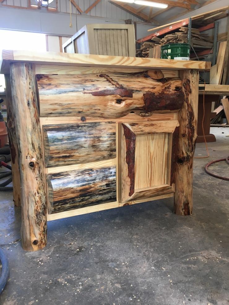 Log Style Vanity, Bathroom Vanities, 36-Inch Furniture Style Vanity, Reclaimed Wood Bathroom Cabinet and Storage, Skaggs Creek Wood Shop